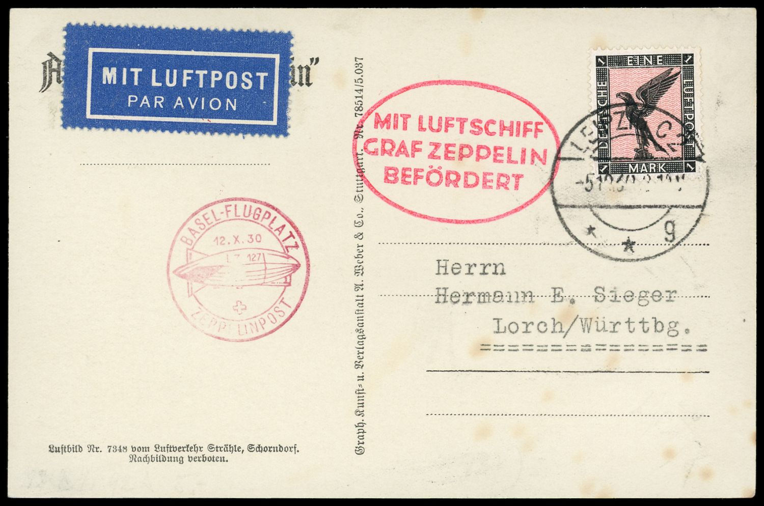 Lot 11255 - zeppelinpost deutschland  -  Auktionshaus Klüttermann GmbH Auction number 1